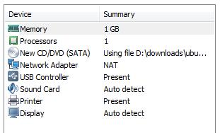 Vmware Player Customize Hardware for Ubuntu intsall