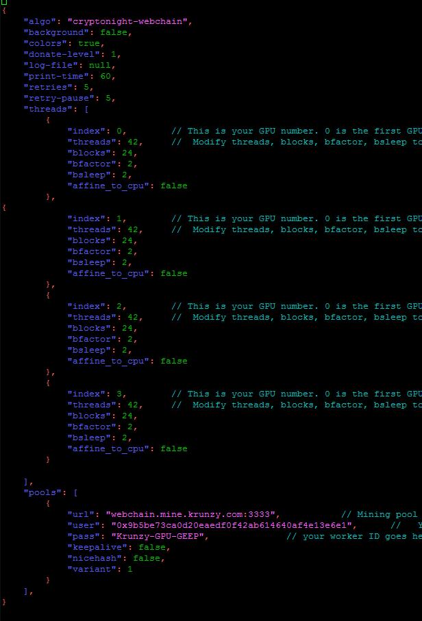 Webchain NVIDIA GPU miner configuration